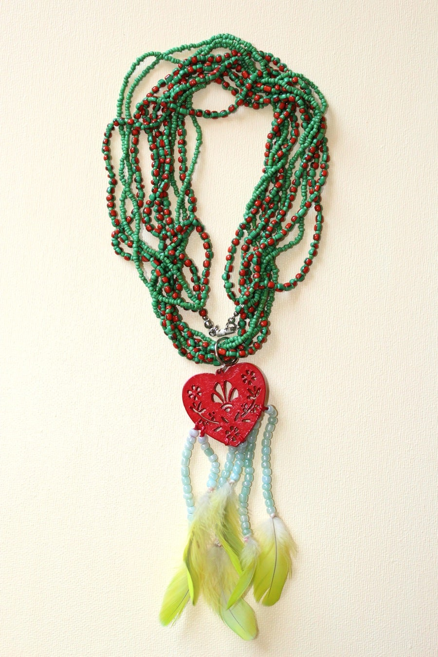 Image of Necklace - Tassel & Genuine Amazon Parrot feathers