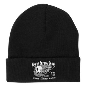 Image of GRAVE BEFORE SHAVE Rebels Against Razors BEANIE