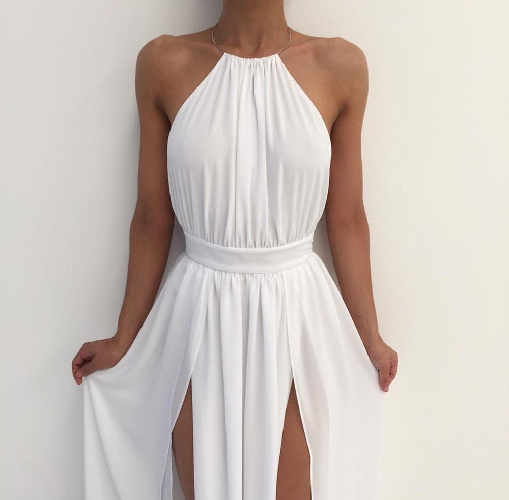 White Chiffon Front Silt Casual Style Backless Halter Top: White Chiffon Nude Halter Slit Open Back