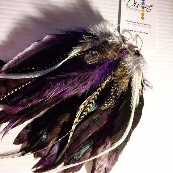 Image of Purple Passion Feather Earrings for the Royal Goddess