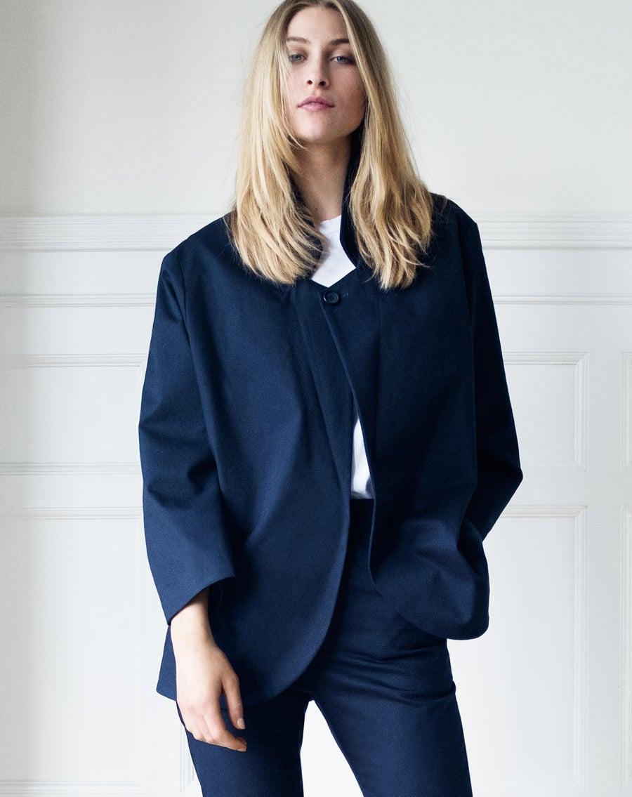 Image of Suit 1 OVERSIZE WOMEN - Organic cotton twill - Dark blue/grey
