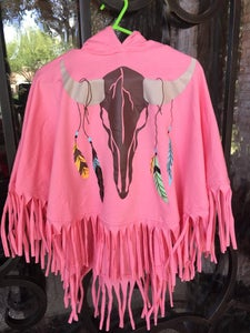 Image of Native American Cow Skull Poncho in Peach, baby, toddler, girl, Holidays, photos