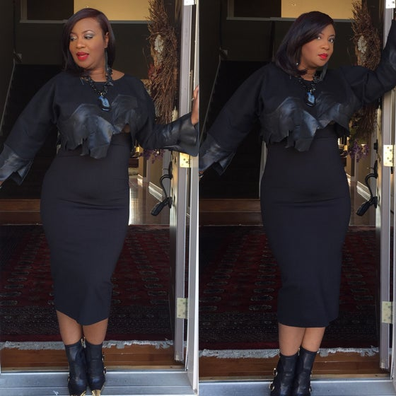Image of  Black stretch pencil skirt $45.00