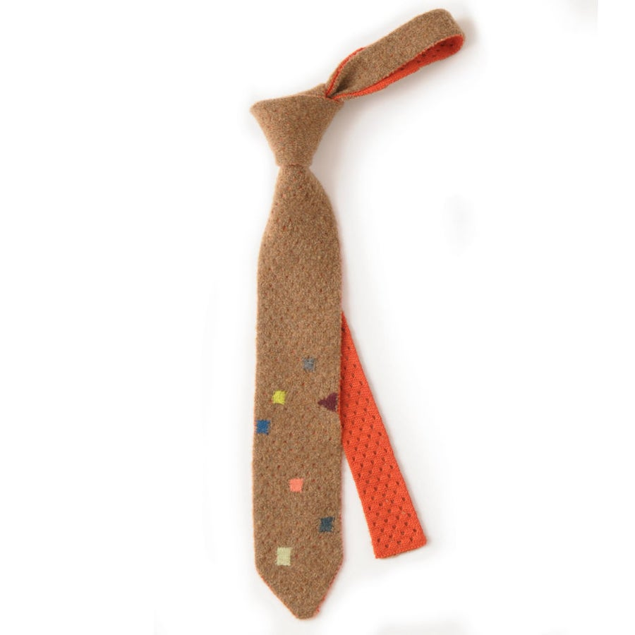Image of Teddy Texture with Darning Stitch Tie - Camel x Orange
