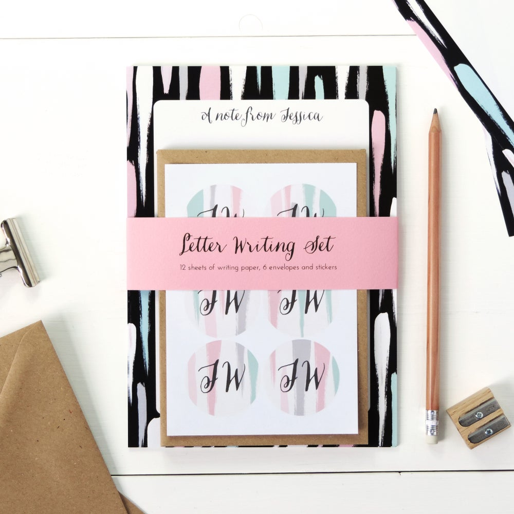 Image of Personalised Letter Writing Set: Painterly Long