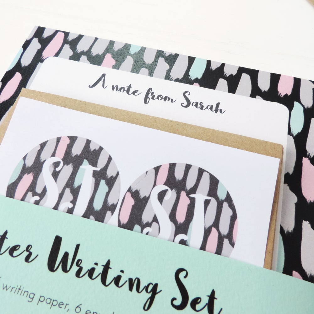 Image of Personalised Letter Writing Set: Painterly Brushstrokes