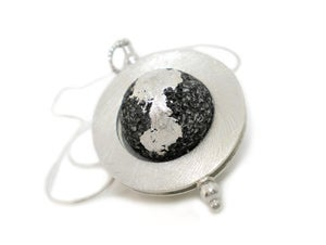 Image of Silvered Lava Flat Ring Pendant