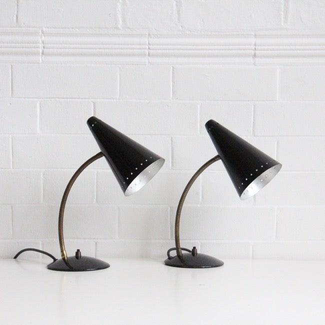 Image of Pair of black and brass midcentury lamps SALE  was £195