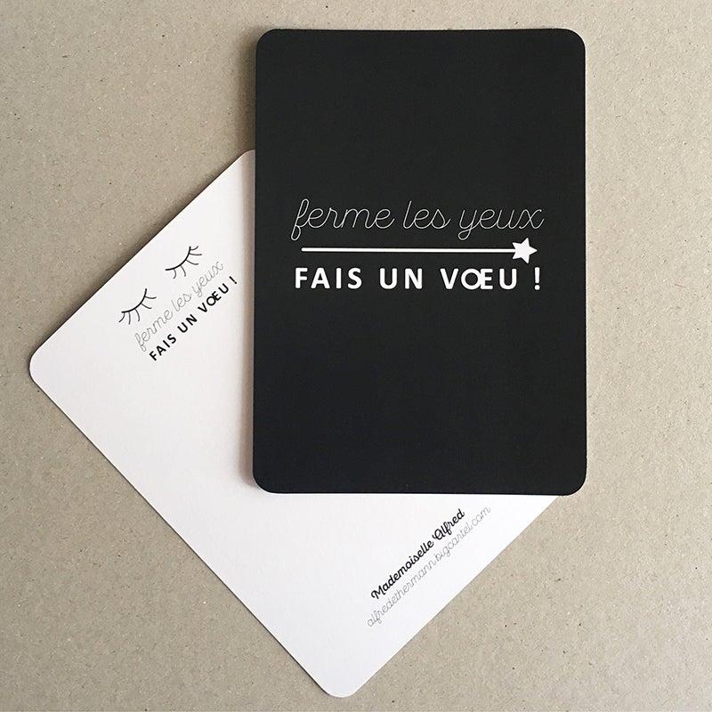 """Image of Carte """"Ferme les yeux - fais un vœu"""""""