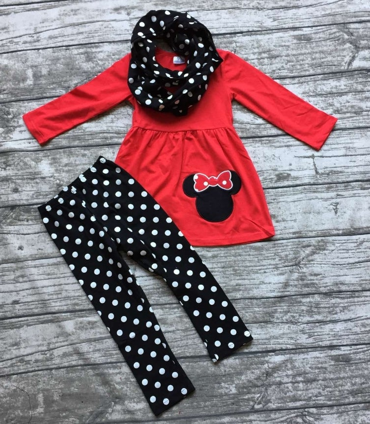 Image of Minnie Mouse inspired three piece outfit with infinity scarf, baby, toddler, girl