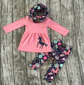 Image of Unicorn three piece outfit with infinity scarf, baby, toddler, girl, holidays, fall/winter