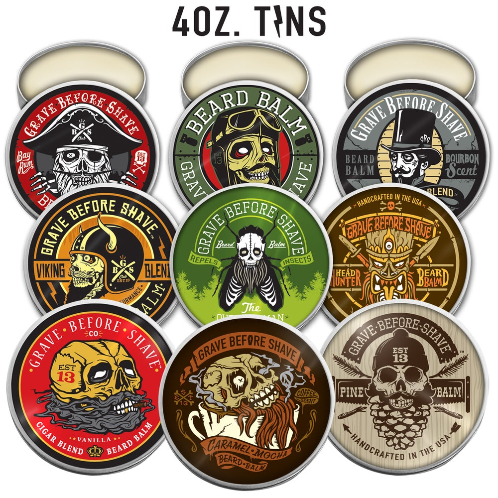 Image of 4 OZ. BIG TINS GRAVE BEFORE SHAVE BEARD BALM