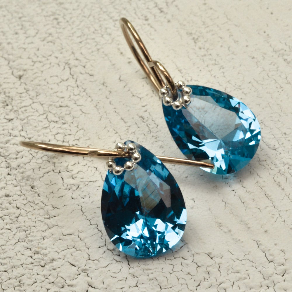 Image of Blue earrings simulated spinel pear mixed metal
