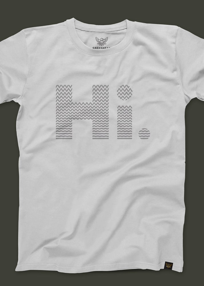 "Image of Greenhead ""Hi."" T-Shirt in White"