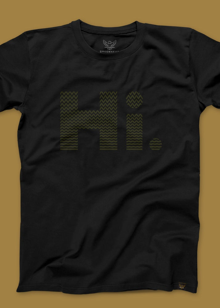 "Image of Greenhead ""Hi."" T-Shirt in Black/Green"