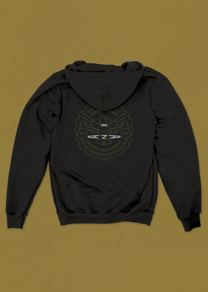 Image of Greenhead Zip-Up Hoodie in Black
