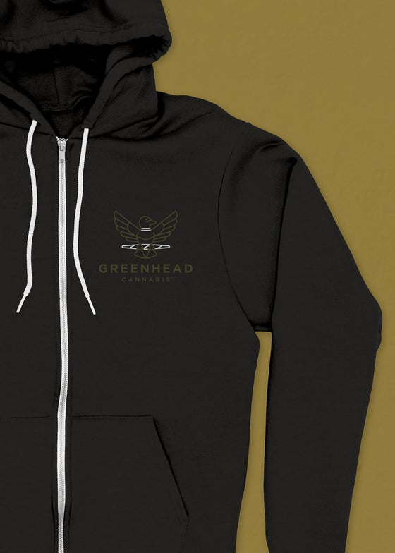 Image of Greenhead Zip-Up Hoodie in Black