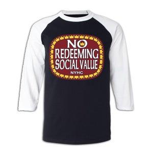"Image of NO REDEEMING SOCIAL VALUE ""Olde E"" Logo 3/4 Sleeve Jersey"