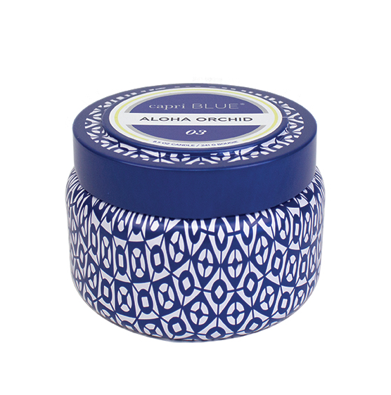 Image of ALOHA ORCHID printed Blue & White TRAVEL TIN candle by Capri Blue