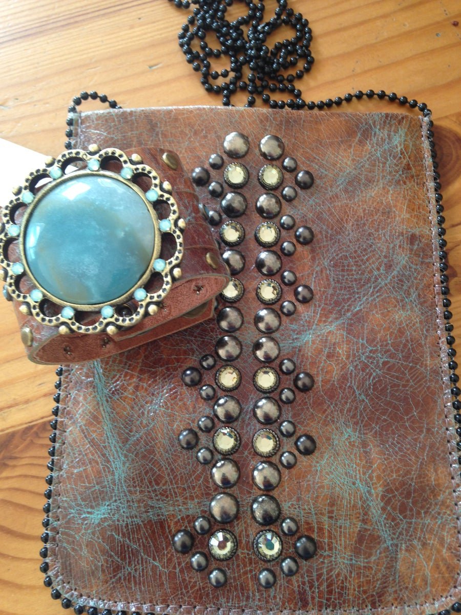 Image of Handmade leather crossbody cellphone pouch with Swarovski Crystals - tan/turquoise