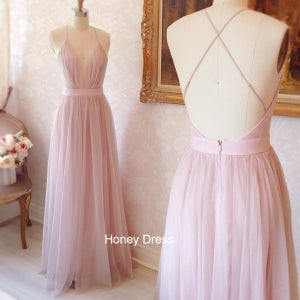 Image of Pink Tulle Deep V-Neck Spaghetti Strap Floor Length Prom Dress, Formal Dresses With Cross Back