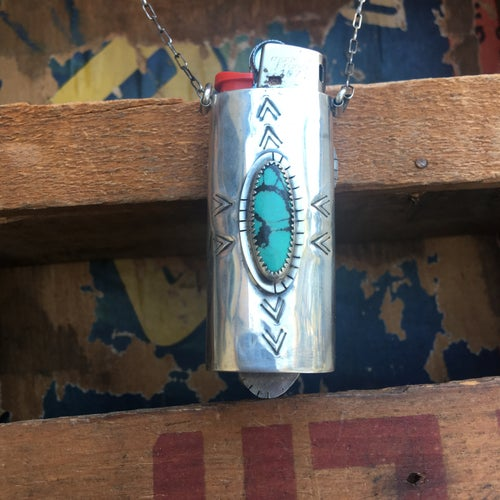 Image of REVERSIBLE SONORA SUNRISE, TURQUOISE & 1935 BUFFALO HEAD NICKEL LIGHTER CASE NECKLACE