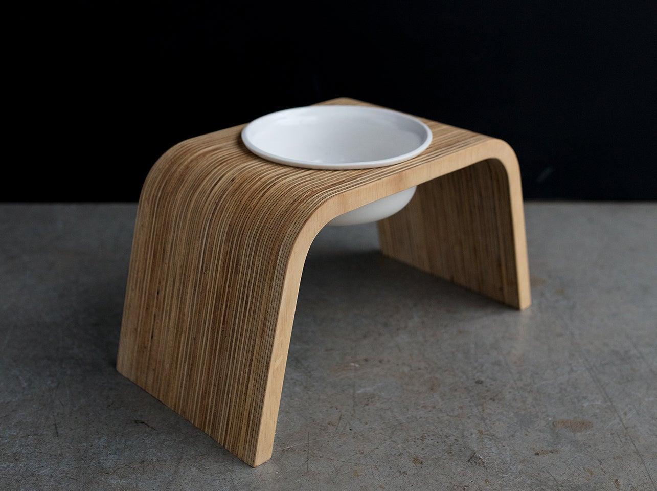 howl  home  modern dog feeders  dog bowls — dog bowl stand set  - image of dog bowl stand set single tall