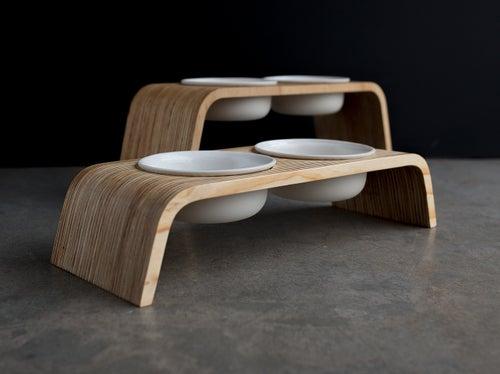 Image of Dog Bowl Stand Set: Double Short