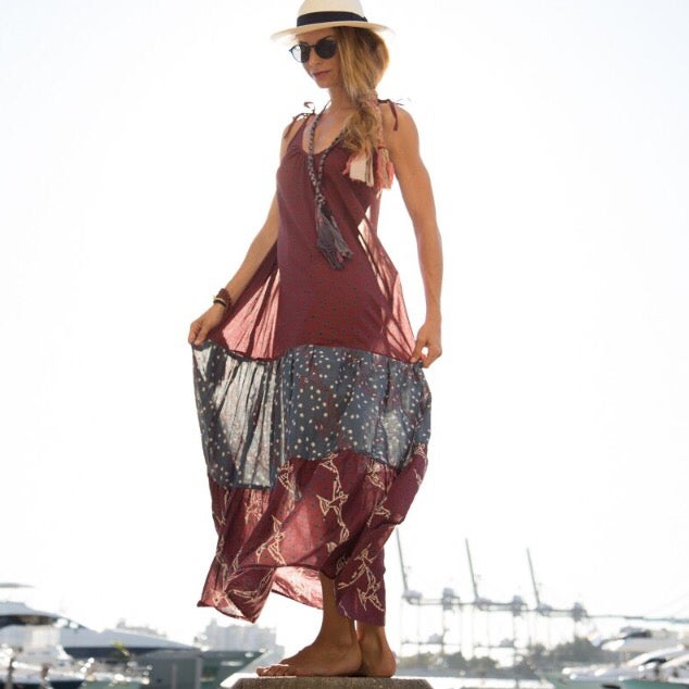 Image of Celia Dress - Vino/Multi