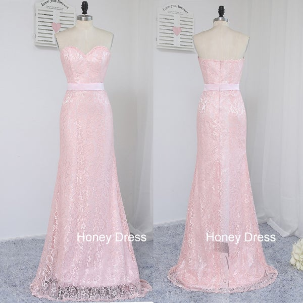 Image of Custom Made Pink Lace Sweetheart Sheath Floor-Length Long Prom Dress With Zipper Backless