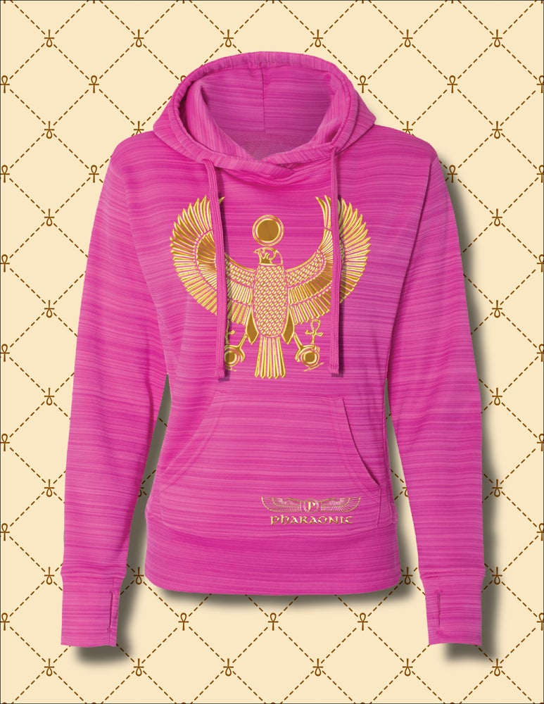 Image of Women's Gold Heru Striped Poly Fleece Hoodie