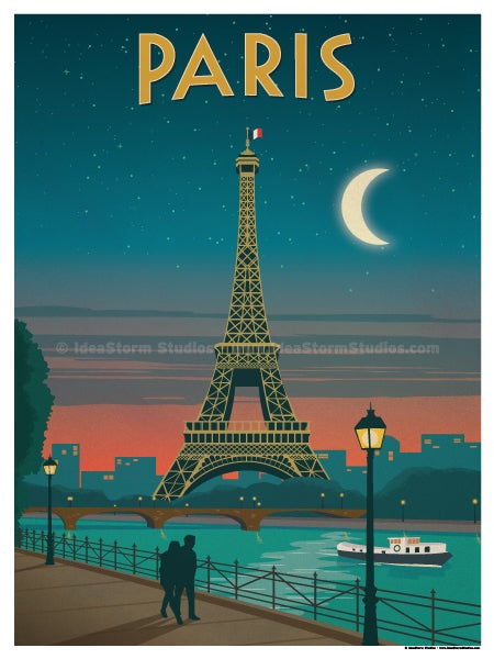 ideastorm studio store vintage paris moonlight poster. Black Bedroom Furniture Sets. Home Design Ideas