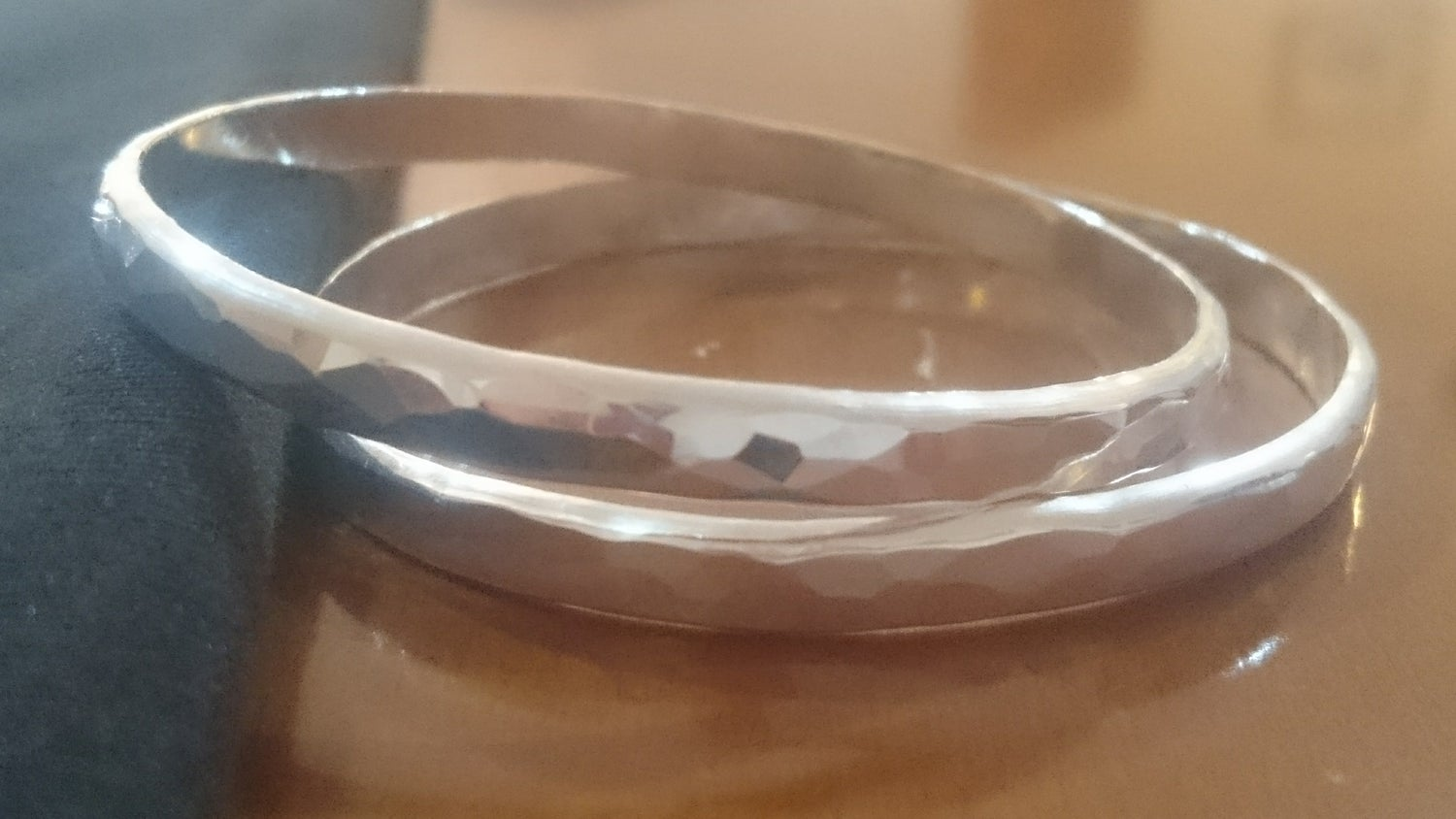 Image of Sterling Silver Faceted Bangle