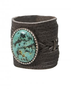 Image of Braided Leather Cuff Bracelet with Gemstone