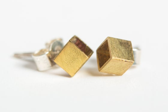 Image of Geometric Cube Stud Earrings