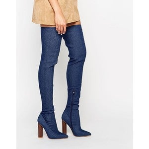 Image of THIGH HIGH DENIM BOOTS