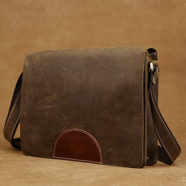 Image of Vintage Handmade Crazy Horse Leather Messenger Satchel iPad Bag in Brown (n50)