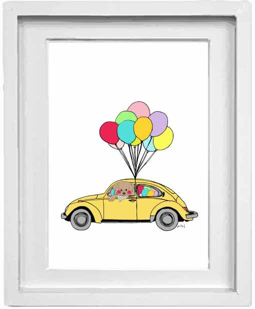 Image of bear driving a beetle holding balloons