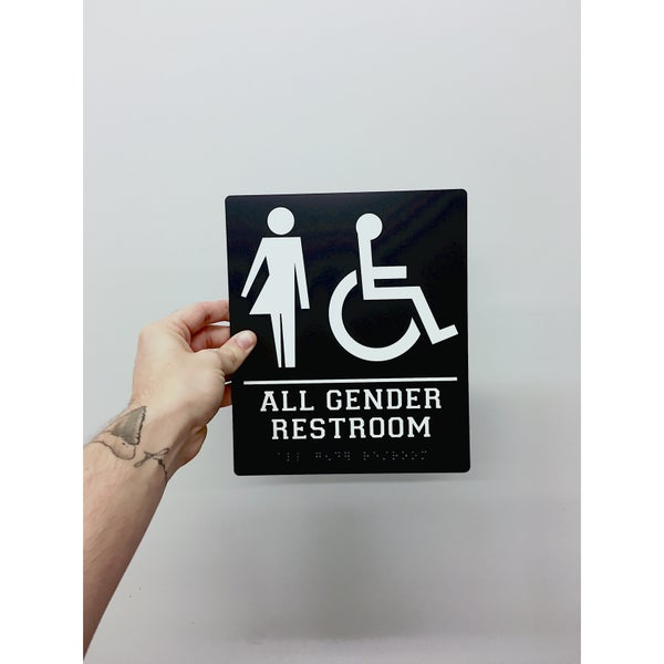 Image of Handicap Inclusive ALL GENDER Bathroom Sign
