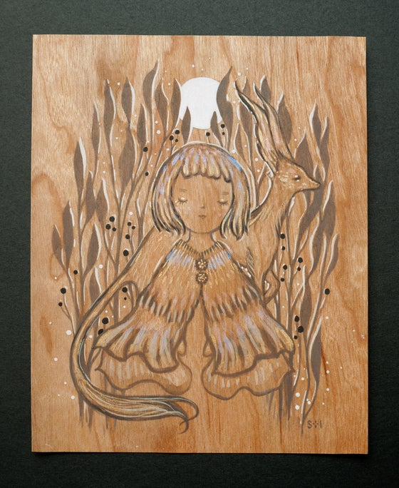 Image of gilded moon ~ wood drawing