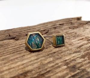 Image of SeaResin Hex Post Earrings