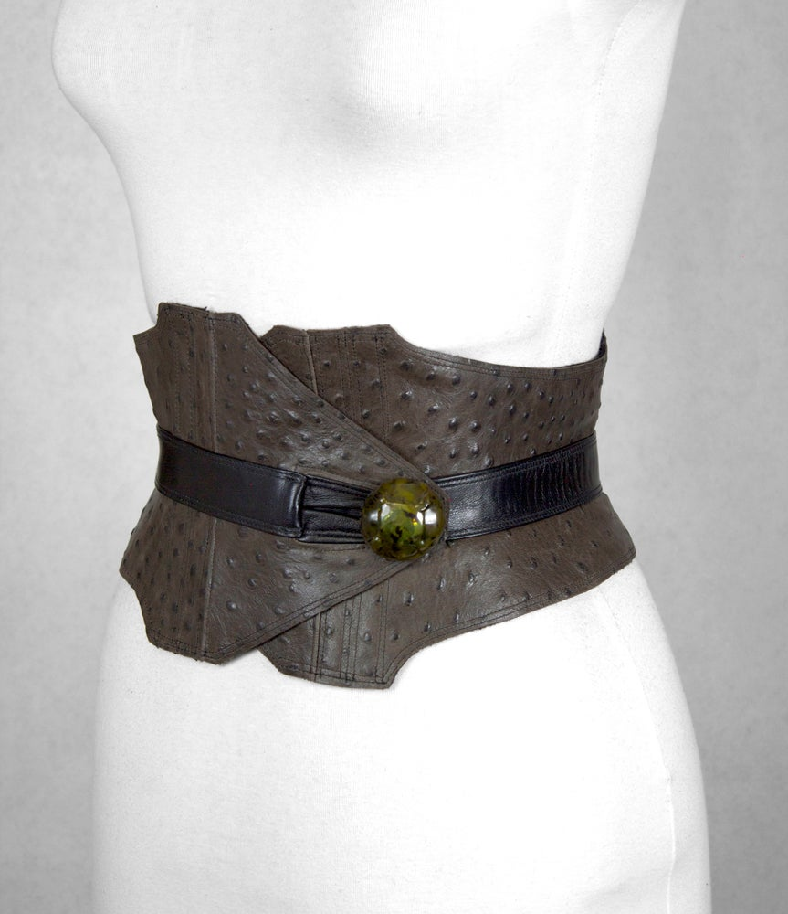 Image of Chestnut Leather w/ Green Button Corset Belt