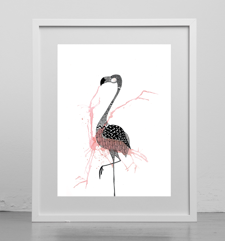 Image of Print: Flamingo Splash