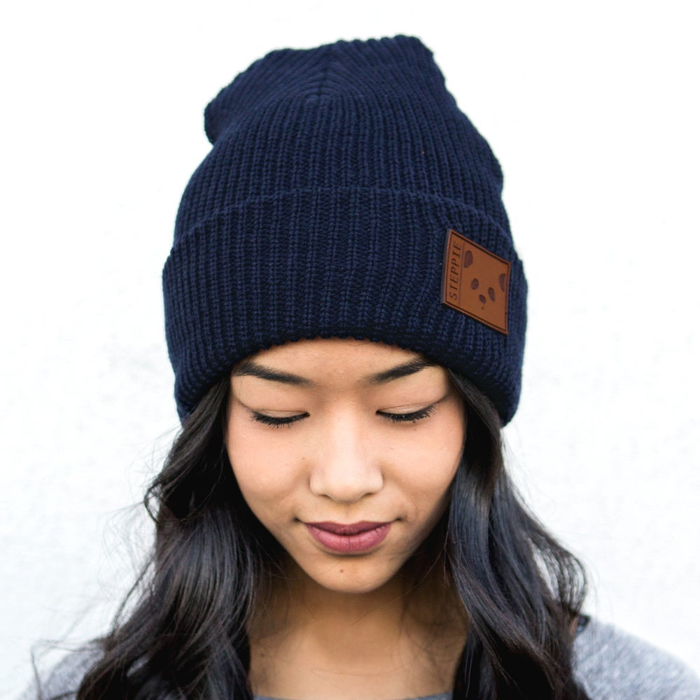 "Image of ""Panda Face"" Beanie (Navy)"