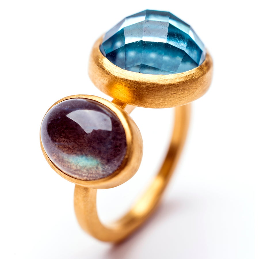 Image of Indian Summe Ring Blue Topaz/ Labradorite