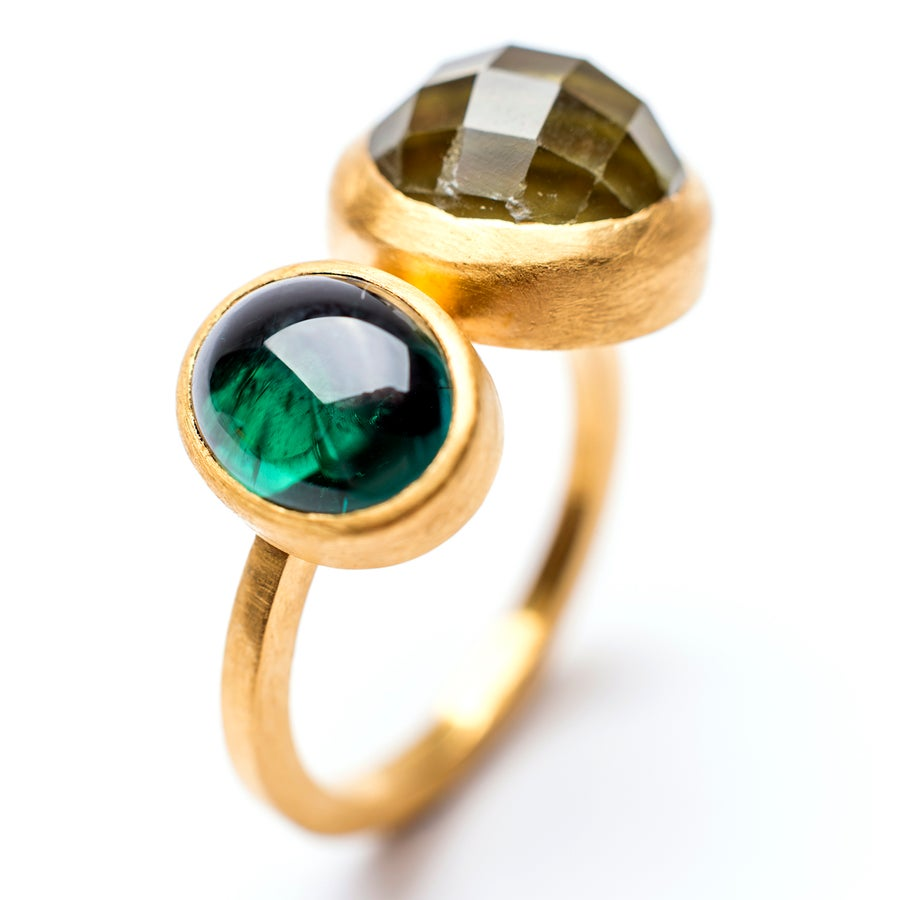 Image of Indian Summer Ring Lemon Citrine/ Green Tourmaline