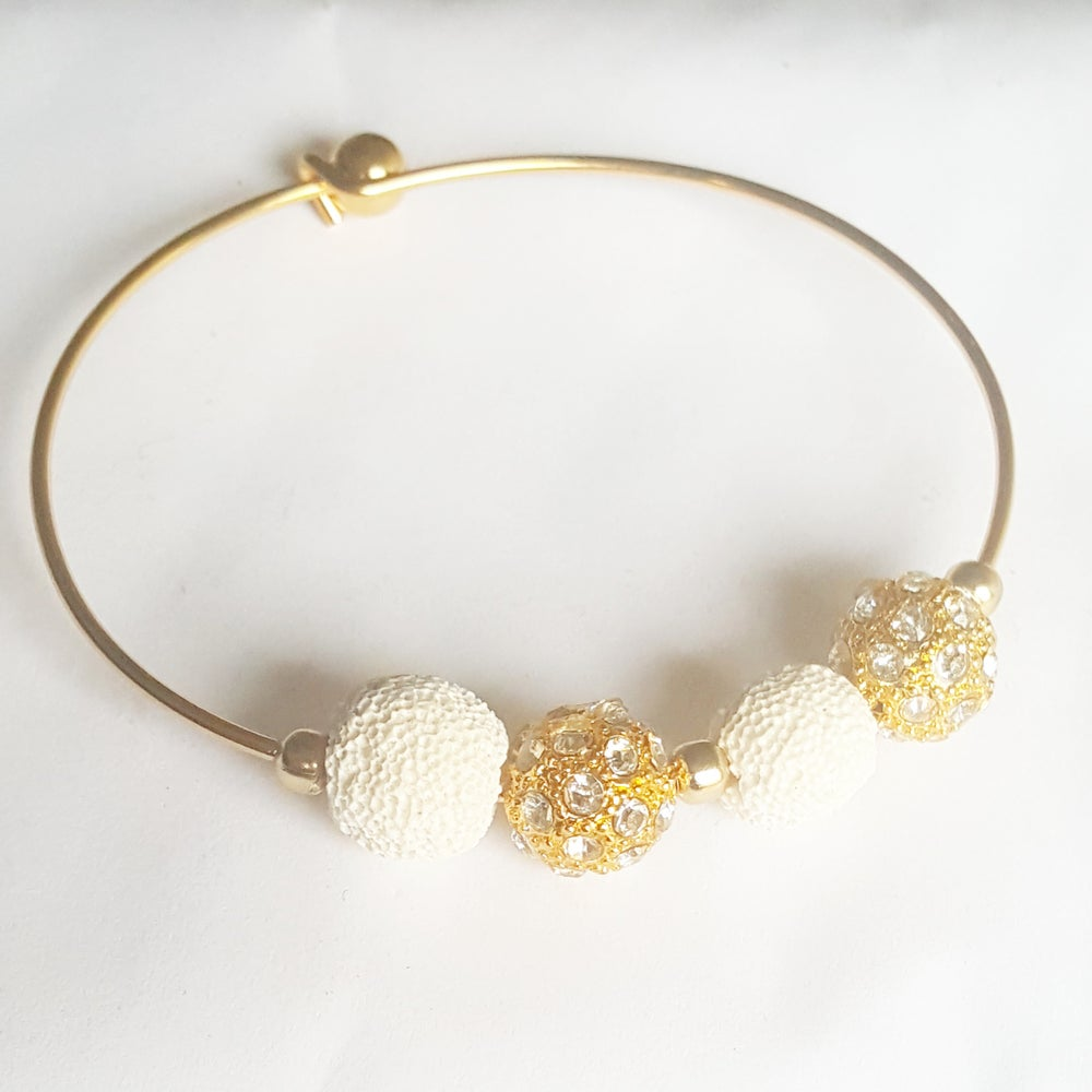 Image of White Lava bead Essential oil bangle or necklace
