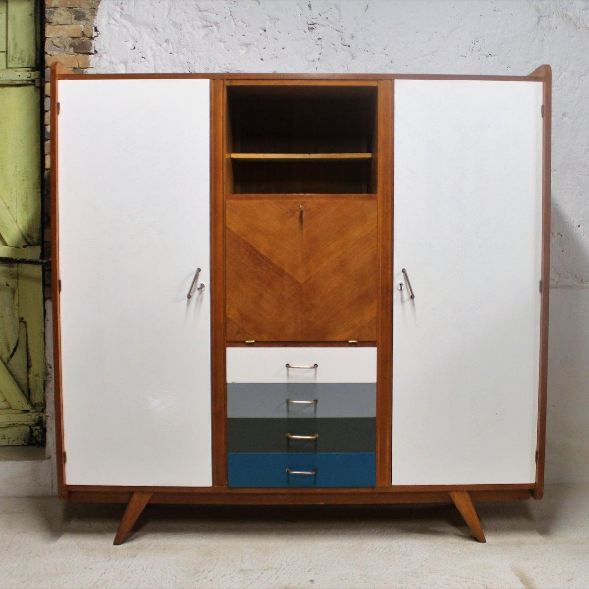 armoire dressing bureau ann es 60 fibresendeco vannerie artisanale mobilier vintage. Black Bedroom Furniture Sets. Home Design Ideas