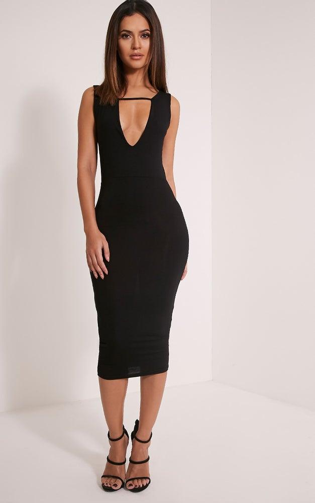 Image of Black Deep V Midi Dress