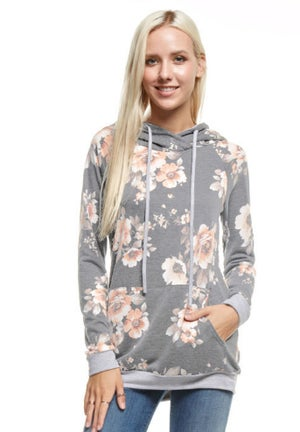 Image of Soft Floral Hoodie   2 Colors